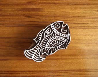 Indian block, wood fish stamps, hand carved stamp, wood cut print block, wooden blocks, fish printing block, textile art - blk007