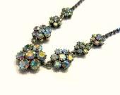 "Vintage Rhinestone Necklace Aurora Borealis Choker 15"" Vintage Jewelry Holiday Jewelry Sparkling Necklace"
