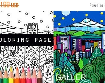 65% off- NEW Portland Oregon Skyline City Coloring Book Pages, Adult Coloring Cityscape Printable Instant Download