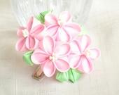 Pink flowers silk kanzashi clip
