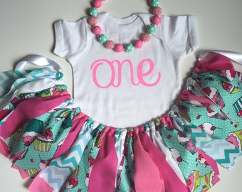 Smash Cake Outfit - Cupcake Birthday Outfit - Girl Birthday Outfit - Cupcake Birthday Party - Little Girl Photo Prop -