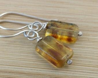 Honey Glass Earrings. Yellow Czech Glass Earrings. Sterling Silver. Amber Glass Beaded Earrings. Geometric Jewelry. Rectangle Earrings.