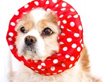 Red Polka Dots Waterproof Snood, Cavalier King Charles or Cocker Snood, Girl Dog Snood