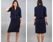 40% OFF SALE Vintage Navy Blue Cropped Jacket and Skirt Set 1960s 60s Mod