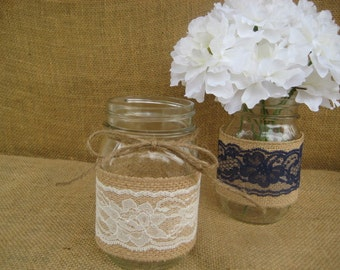 Rustic  Burlap  &  Lace Mason Jar Wraps  Pint   Size  set  of  6