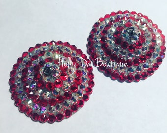 Bullseye Candy Cane Cystal ab pasties burlesque nipple covers