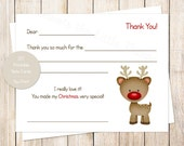 PRINTABLE christmas thank you cards for kids . red nosed reindeer . fill in the blank thank you notes . rudolph inspired . INSTANT DOWNLOAD