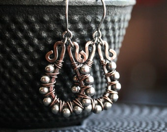 Copper and sterling silver mixed metal earrings, beaded hoops, wire wrapped, oxidized, rustic, dangle, drop, Mimi Michele Jewel