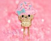 Cutie Ice Cream Cone Glitter Paperclip