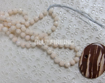 35 inches long Faceted  Dyed Peach Color Jade in 8mm Beaded Necklace, Hand Knotted Necklace