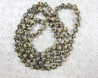 35 inches long Faceted Dalmatian Jasper Beaded Necklace, Hand Knotted Necklace