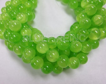 32 pcs Round Smooth colored Jade Beads in 12mm full strand