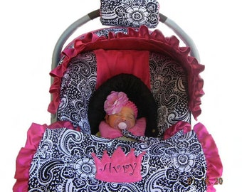 Baby Car Sear Cover, Infant Car Seat Cover, Slip Cover- Paisley with Hot Pink Minky Dot seat