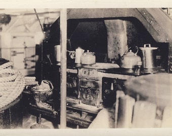Old KITCHEN GALLEY With Cast Iron STOVE Photo Postcard Circa 1920s