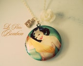 Pin Up Girl with initial pictures Locket necklace