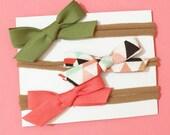 Mini Handmade Bias Tape Bows on Nylon Headband Set of Three Baby Accessory Olive Green, Gold Glitter Multi and Coral