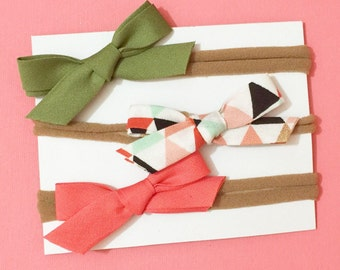 Mini Handmade Bias Tape Bows on Nylon Headband Set of Three Baby Accessory Olive Green, Gold Glitter Multi and Coral