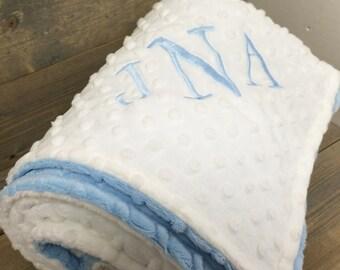 Baby Blanket, Personalized Baby Blanket, Blue Minky Baby Blanket, Baby Boy Gift, Baby Shower Gift, Blue Minky Blanket, Stroller Size