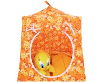 Toy Pop Up Tent, Sleeping Bags, orange, daisy print fabric