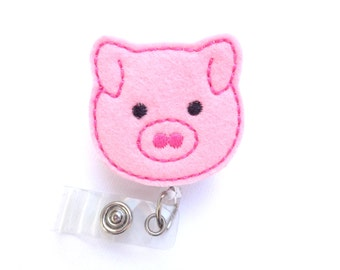 Retractable badge holder - Here Piggy Piggy - pink felt pig - nurse badge reel medical badge reel farmer veterinarian