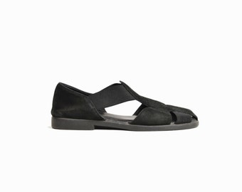 Vintage 90s Black Leather & Elastic Fisherman Sandals / Black Suede Sandals - women's size 7