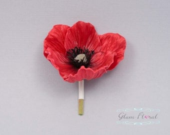 Red Poppy Boutonniere . Real Touch Flowers
