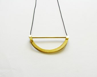 Brass Arc Necklace-Oxidized-Statement Pendant Necklace-Gold Arc Necklace-Minimalist Necklace-Minimalist Brass Jewellery-Contemporary Jewelry