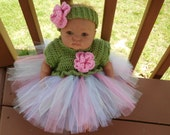 Crochet Tutu Dress in Fern Green with Multicolor  Tulle Skirt for 0-3 Month Baby Girl or Reborn Doll