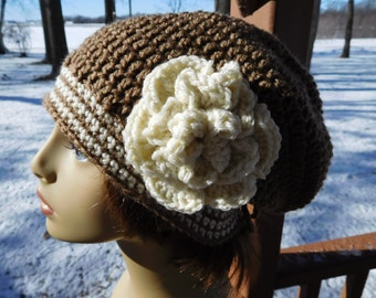 Slouchy Beanie in Brown with Trim in Cream and Detachable Flower