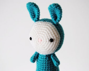 Amigurumi blue bunny, crocheted toy, ready to ship