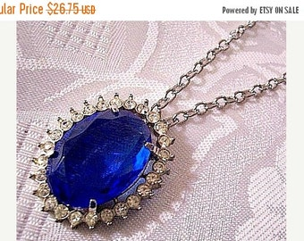 ON SALE Blue Glass Rhinestone Pendant Necklace Silver Tone Vintage Avon 1972 Creation In Blue Pendant Oval Link Chain Spring Clasp