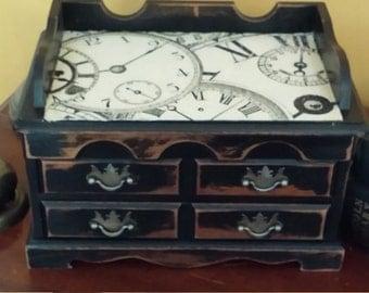 Black Shabby Chic Clock Jewelry Box