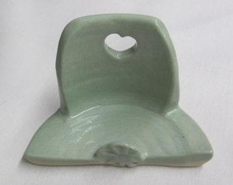 Business Card Holder Ceramic Pottery Handmade Card Holder Turquoise Pottery