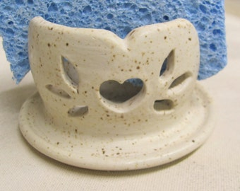 Spong Holder Ceramic Pottery Handmade Letter Holder Carved Stoneware