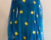 Nuno felted scarf, star sky shawl, turquoise scarf, silk shawl, blue shawl, handmade shawl with stars, yellow stars, made in Europe