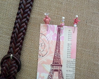 Designer beaded pins for your pinboard made with a collection including a turtle, starfish, rose in pink and purple with pearl head pins