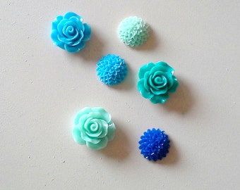 Magnet set, fun colors in a set of 6 bright mint, royal and sky blue/green cabochon flower Rare Earth Fridge Magnets, or choose pushpins