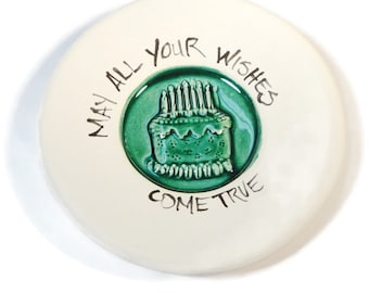 May All Your Wishes Come True Stamped Dish Birthday Cake Pink Green or Teal Glaze