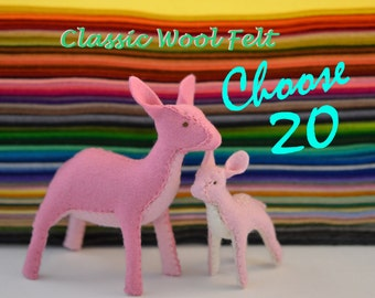 100% Classic Wool Felt - 20 sheets -You Pick the Colours