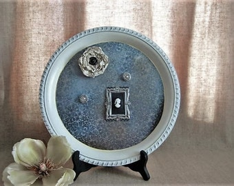 Upcycled Shabby Silver Plate Tray/Magnetic Message Board / Cottage Chic Message Board w/ Magnets /Shabby Magnetic Message Board