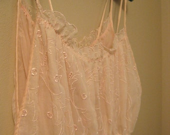 Vintage late 50s early 60s Pink Barbizon Peignoir Set Sheer Nylon Gown and Robe Bridal Lingerie Size Small Medium