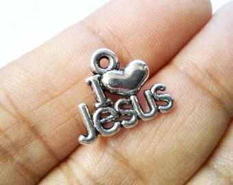 "10pcs Silver Tone ""I love Jesus"" Charm, Pendants, I love Jesus Charm"