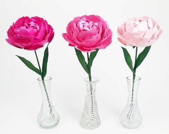 The Peony - Handmade Paper- Custom Colours - Set of 2 - Stems  Included