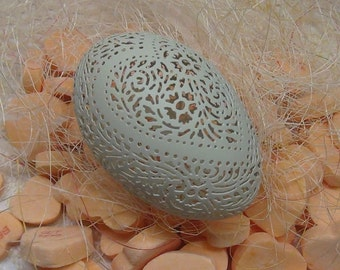 Green Chicken Egg - Hand Carved Victorian Lace Heart Pattern