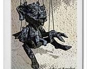 Gargoyle Marionette ceramic tile coaster