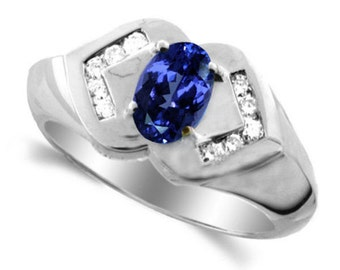 14k  white gold ring tanzanite diamonds