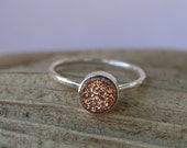 Rose Gold Druzy Quartz Crystal Sterling Silver Ring - Size 7/8
