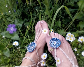 Blue Boho anklets Crochet Barefoot Sandals Hippy Wedding accessories Yoga anklets Beach Wedding Gift for her Summer sandals Foot jewelry