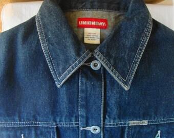 Vintage UNION BAY Denim Jacket Indigo Denim Classic Style Jacket Medium Quality 100% Cotton Denim Jacket Timeless Classic Denim Jacket