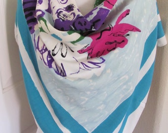 """Vintage Blue White Floral Large Soft Rayon Scarf  // 37"""" Inch 95cm Square"""